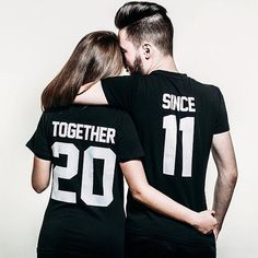 bc5cb8f77e Couple T-shirts set Together Since set of 2 by FunnyWhiteTshirt Couple  Outfits, Couple