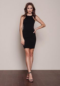 Black Strappy Back Bodycon Dress - Dresses