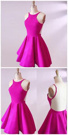 homecoming dresses, round neck dress,pink dresses,backless dress
