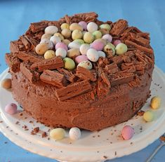 A chocoholic treat. If you have forgotten to buy the flakes simply grate some ch… A chocoholic treat. If you have forgotten to buy the flakes simply grate some chocolate over the nest edge. Chocolate Easter Cake, Chocolate Nests, Chocolate Sweet Cake, Chocolate Birthday Cake Kids, Baking Chocolate, Baking Recipes, Cake Recipes, Dessert Recipes, Cupcakes