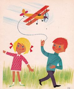 Super cute illustration for framing salvaged from a vintage book from the Illustrated by the wonderful Alain Grée. Vintage Posters, Vintage Art, Vintage Stuff, Airplane Art, Estilo Retro, Little Golden Books, Retro Art, Children's Book Illustration, Vintage Children