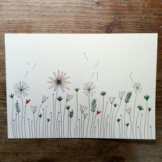 Wild Flower hand drawn wall art by LuciesLittleCrafts on Etsy, £5.70