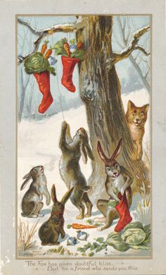11 best louis prang antique american greeting cards images on prang fox and rabbits m4hsunfo