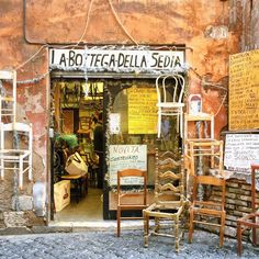 Tucked Right Out Of The Way In Rome Italy. A Furniture Repair Shop.