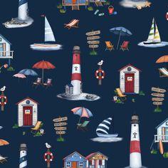 Michael Miller Fabrics By The Sea Cabana Time Navy - Fabric.com