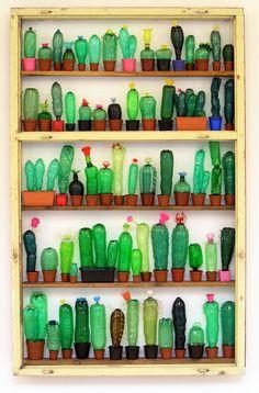 Cute Idea - Kaktussammlung aus PET Flaschen - no tutorial