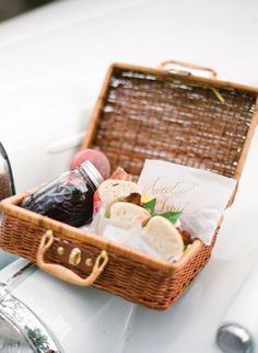 End a gorgeous affair with fancy picnic basket packed with to-go nibbles for the road