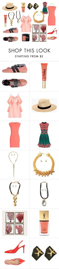 """Coral Fashion Frenzy"" by pinktownusa-com on Polyvore featuring Miu Miu, Too Faced Cosmetics, Miss Selfridge, Madewell, Antonio Berardi, M Missoni, Ballard Designs, Yves Saint Laurent, Marco Barbabella and Christian Dior"