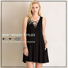 """""""Front Tie Up Shift Dress with Pockets"""" don't forget promocode freeshipping35~ @classicpaperdoll"""