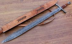 Damascus Knife Custom Handmade - 37.00 Inches OAK Wood Handle Sword
