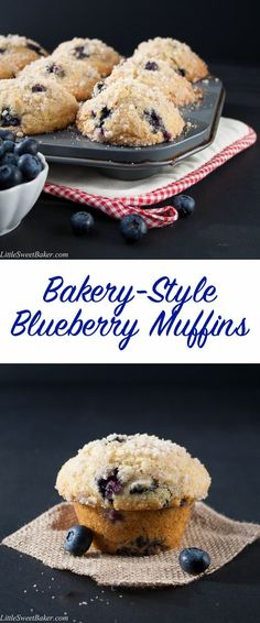 A buttery, soft and fluffy muffin that's loaded with juicy blueberries and topped with a crunchy sweet cinnamon streusel on a sky-high muffin top. BEST blueberry muffin EVER. You must try this recipe!