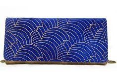 blue gold printed | silk screen clutch | hand made in Barcelona