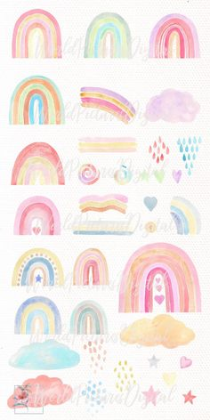 Hand painted Aesthetic loose nature forms and patterns in warm and cold trendy colors set PNG files DIY Rainbow Painting, Rainbow Art, Watercolor Projects, Watercolor Paintings, Watercolours, Rainbow Clipart, Montessori Toys, Trendy Colors, Clip Art