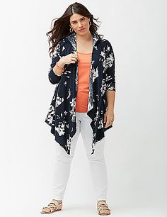 Floral hooded cardigan by Lane Bryant Plus Size Women's Tops, Plus Size Shirts, Plus Size Blouses, Hooded Cardigan, Open Cardigan, Curvy Outfits, Plus Size Fashion, Stylish, My Style