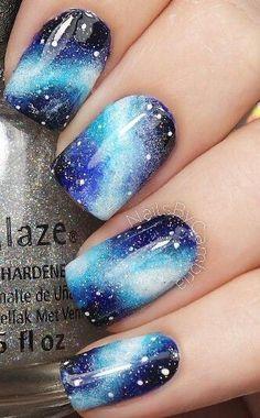 Galaxy Nails 25 Ideas to Paint Your Blue Nails for Fall - Nail Designs Beach Nail Designs, Cute Nail Designs, Acrylic Nail Designs, Pretty Designs, Gorgeous Nails, Pretty Nails, Amazing Nails, Galaxy Nail Art, Galaxy Galaxy