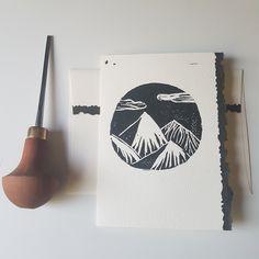 Linocut Mountain Cards Blank - Set of 10 Linoleum Block Printing, Fabric Stamping, Mountain Designs, Linoprint, Chalk Pastels, Stamp Making, Japanese Prints, Linocut Prints, Printmaking