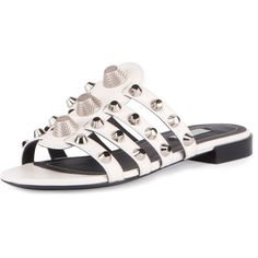 Balenciaga Studded Cage Slide Sandal (194.725 HUF) ❤ liked on Polyvore featuring shoes, sandals, ivory, shoes sandals, studded sandals, ivory flat sandals, stacked heel sandals, slide sandals and slip-on shoes