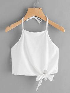 #AdoreWe #ROMWE ROMWE Halter Neck Side Knot Top - AdoreWe.com Cute Comfy Outfits, Cute Summer Outfits, Simple Outfits, Trendy Outfits, Cool Outfits, Stylish Tops, Trendy Tops, Teen Fashion Outfits, Fashion Wear