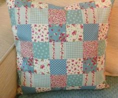 HANDMADE-BLUE-DITSY-FLORAL-PATCHWORK-SHABBY-CHIC-CUSHION-COVER-14-034-X14-034