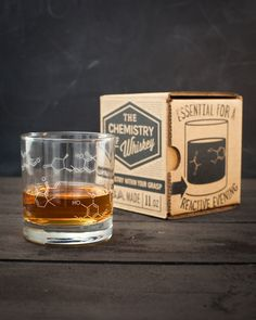 • • • • • Gift Option • • • • • Add A Gift Bag for $5.95 Our Whiskey Chemistry Lowball Glass is for people who enjoy lactones and esters and aldehydes – whether in their glass or on it. The EtOH O'Clo