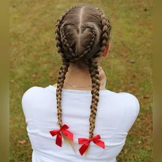 Adorable heart & pigtail style!  Credit @flower.braids