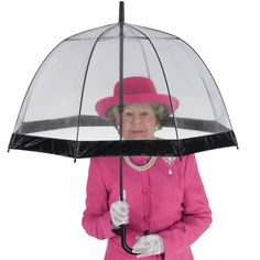 Her Majesty's Umbrella - This is the umbrella favored by Her Majesty The Queen Elizabeth II when she ventures outdoors in public during inclement weather. Supplied to the royal household by Fulton Company Limited, the clear dome canopy provides ample coverage for the head and shoulders while allowing onlookers to recognize its holder, and vice versa.