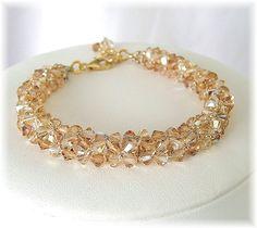 Pulseras de cristal oro pulseras de novia oro por BridalDiamantes