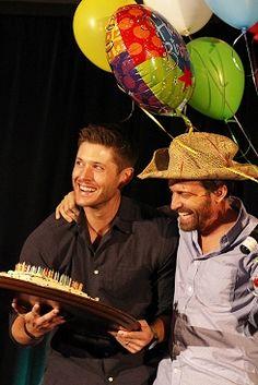 Jensen and Rob Celebrating Rob's Birthday at Supernatural Dallas Con 2014