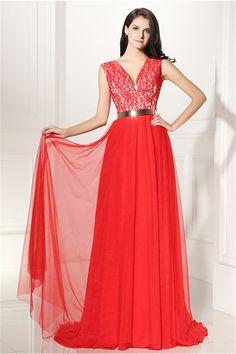 Elegant V Neck Long Red Lace Chiffon Prom Dress With Belt
