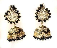 JHUMKAS  Black PEACOCK Jhumka Earrings peacock by taneesijewelry, $78.99