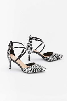 906f7e29588626 Monochrome Cross Strap Pointed Court Shoe - Work Shoes - Clothing
