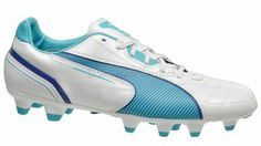 New PUMA Momentta FG Womens Leather Soccer Cleats - White / Blue