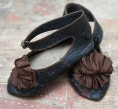 Rare Large Size 15 Antique Jumeau or French Bebe Shoes and original from respectfulbear on Ruby Lane