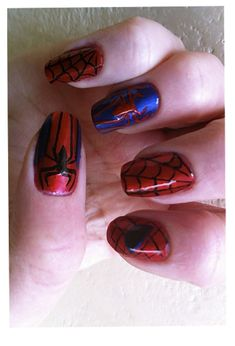 Fun Spiderman nails in honor of Spiderman 4 the movie. How to Spiderman nails inspiration - Visit now to grab yourself a super hero shirt today at 40% off!