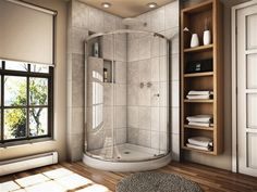 Fleurco Banyo Amalfi 40 Arc 3 Semi-Frameless Curved Glass Sliding Shower Door