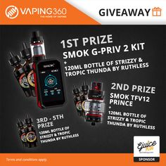 SMOK G-Priv 2 Kit, SMOK TFV12 Prince and 1200mL Ruthless E-Juice Giveaway by E-Juice Plug