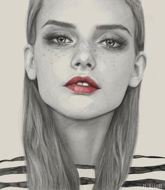 freckles, girl, portrait, draw, lips, stripes, eyes, illustration