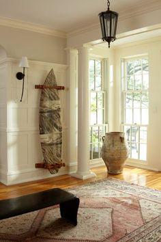 room: Foyer, Traditional room by Bradley Thiergartner Interiors Inc. Seaside Decor, Beach House Decor, Beach Houses, Surfer Bedroom, Surf Shack, Beach Shack, Surf Room, Surfboard Decor, Headboard Decor