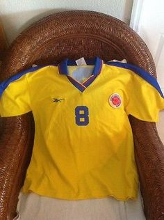 Colombia reebok Vintage #8 Home Soccer/futbol  Jersey Size L Mens