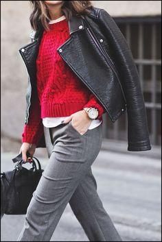 czerwony sweter stylizacja