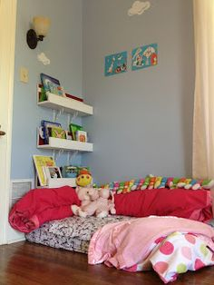 Playroom reading nook from a crib mattress