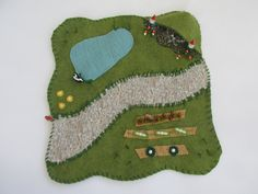 Wool Felt Playscape Play Mat with Pond Cave Garden Pretend Play for Child by MyBigWorld2015 on Etsy