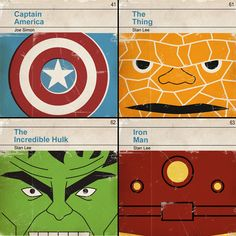 So cute for the boys' room. 6x6 Set of 4 prints  Classic Vintage Marvel by MonsterGallery, $28.00.