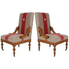 Pair of Chalet Chairs with Swiss Cross | From a unique collection of antique and modern side chairs at http://www.1stdibs.com/furniture/seating/side-chairs/
