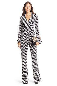 Silk Jersey Wrap Jumpsuit In Chainlink Black/ White