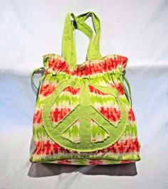 Tote Bag Cinch Peace Sign Tie Dye Purse Beach Bag Hippy Neon Green Orange Mod #Unbranded #TotesShoppers