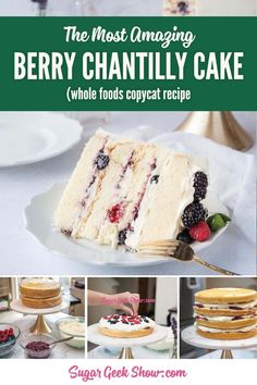Whole Foods Copycat Recipe! Berry Chantilly cake with mascarpone cream cheese frosting. Layers of fresh berries and a moist vanilla cake! THE cake of the summer! We took this to our last BBQ and not a scrap was left! Just Desserts, Delicious Desserts, Dessert Recipes, Cake Filling Recipes, Berry Chantilly Cake, Chantilly Cream, Pavlova, Whole Foods Cake, Baking Recipes