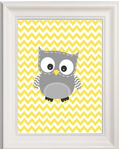 Owl Nursery Art Yellow and Grey  Gender Neutral  by Pinkroad457, $14.50