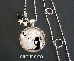Collier sautoir cabochon * poussières d'étoiles * lune fillette perles argenté bijou fantaisie