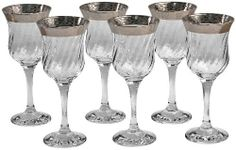 Lorenzo Silver Border Stemmed Wine Glass, Set of 6 by Lorenzo Import, LLC. $36.17. Set of 6 wine glass set. Taditional design. Hand wash recommended. Silver border adds elegance to your table setting.. Material: glass. Set of 6 wine glass from Lorenzo. Made in Italy. Thick silver border applied to the rim of each glass. Each wine glass holds 6 fluid ounces. Hand wash only.. Save 40%!